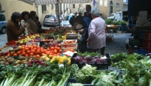 Produce at Saturday market in Cortona, Tuscany
