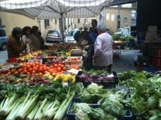 Produce at Saturday market in Cortona, Tuscany