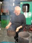 Roasting chestnuts in Alba