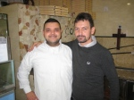 Enzo Costa, right, owner of Pizzeria Vincenzo Costa, with Maurizio the pizza maker