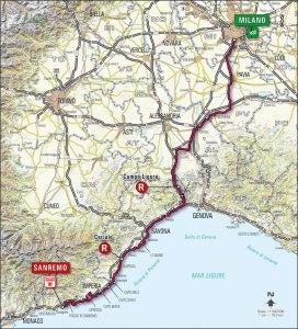 Milano-San Remo map