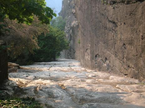 Original Roman road at Donnas