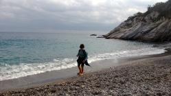 On a deserted Ligurian beach