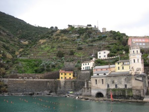 Vernazza with terraced vineyards.